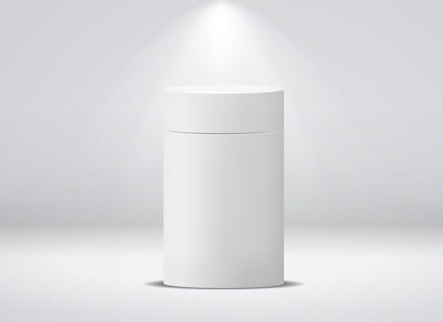 Cilinderpakket. wit rond leeg document vakje voor mockup van de de theekoffie geïsoleerde bus van de voedselsoep Premium Vector