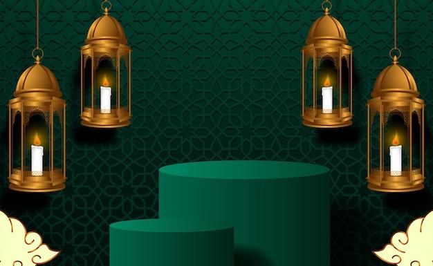 Cilinderpodium productvertoning voor ramadan kareem mubarak met groene kleur, islamitisch patroon, hangende gouden lantaarndecoratie. heilig en religieus