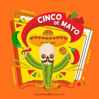 Cinco de mayo achtergrond met cactus en schedel