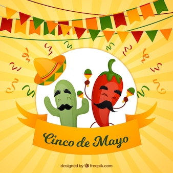 Cinco de mayo achtergrond met grappige chili