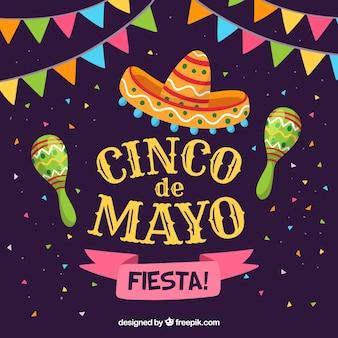 Cinco de mayo achtergrond met kleurrijke wimpels en maracas