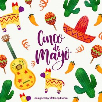 Cinco de mayo achtergrond met mexicaanse elementen