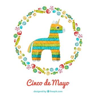 Cinco de mayo achtergrond met pinata in aquarel stijl