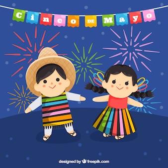 Cinco de mayo achtergrond met schattige kinderen