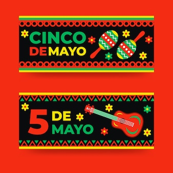 Cinco de mayo banners in plat design