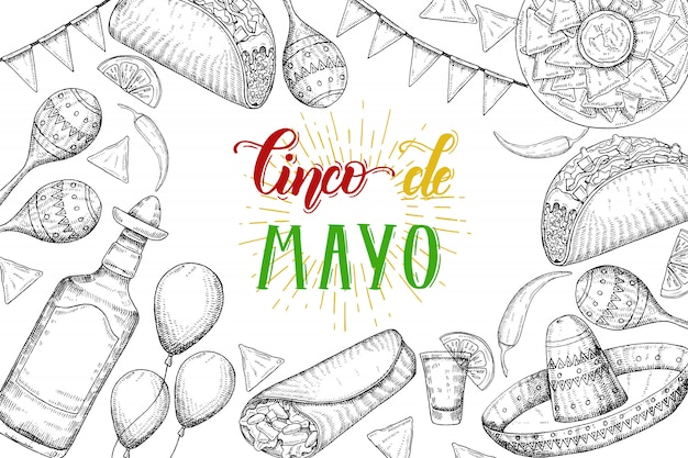 Cinco de mayo feestelijke achtergrond met hand getrokken symbolen - chili peper, maracas, sombrero, nacho's, taco's, burrito's, tequila, ballonnen, vlag krans geïsoleerd op wit. handgemaakte belettering.