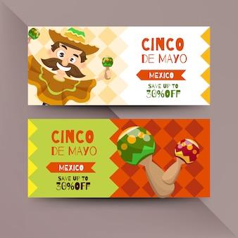 Cinco de mayo-flyer met mexicaanse karakters
