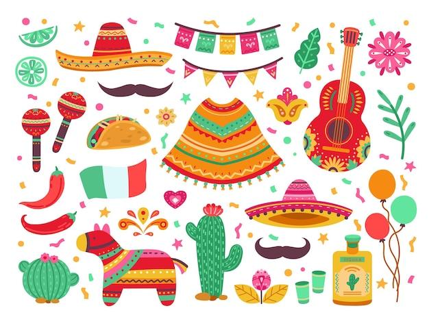 Cinco de mayo. gitaarfeest, geïsoleerde mexicaanse fiesta-decoratie. sombrerocactus, latijnse verjaardagsfeestelementen, spaanse pinata vectorreeks. fiesta mexicaans, gitaar en peperillustratie