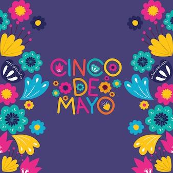 Cinco de mayo kaart met floraal frame
