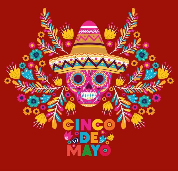Cinco de mayo kaart met schedel en hoed