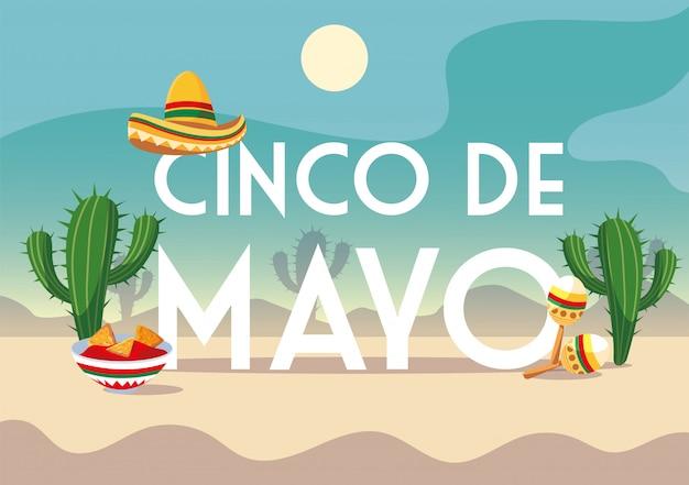 Cinco de mayo label met woestijn op de achtergrond