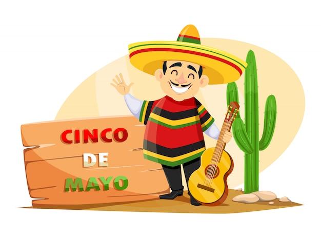 Cinco de mayo. mexicaanse man in sombrero
