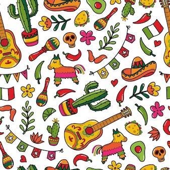 Cinco de mayo naadloze patroon met doodles