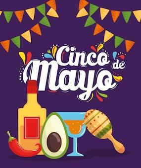 Cinco de mayo poster met cocktail en iconen ornamenten