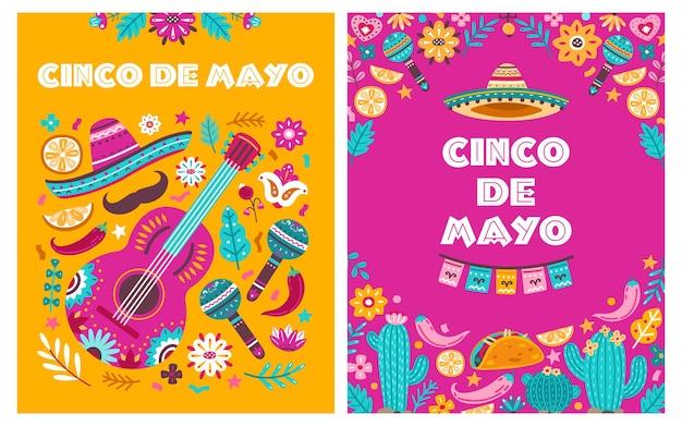 Cinco de mayo-poster. mexicaanse partij, mexico latin fiesta uitnodiging. spaanse chili, schedels bloemen festival vector kaarten ontwerp. traditionele groet mexicaanse vakantie poster, festival mayo illustratie