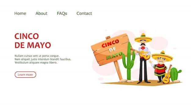 Cinco de mayo. twee mexicaanse mannen in sombrero met gitaar