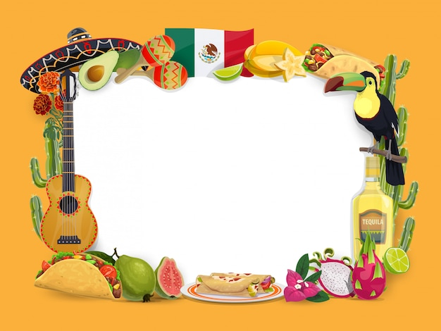 Cinco de mayo vector frame, mexicaanse vakantie grens