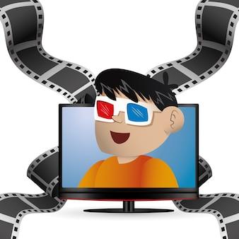 Cinema 3d bril jongen en plasma tv