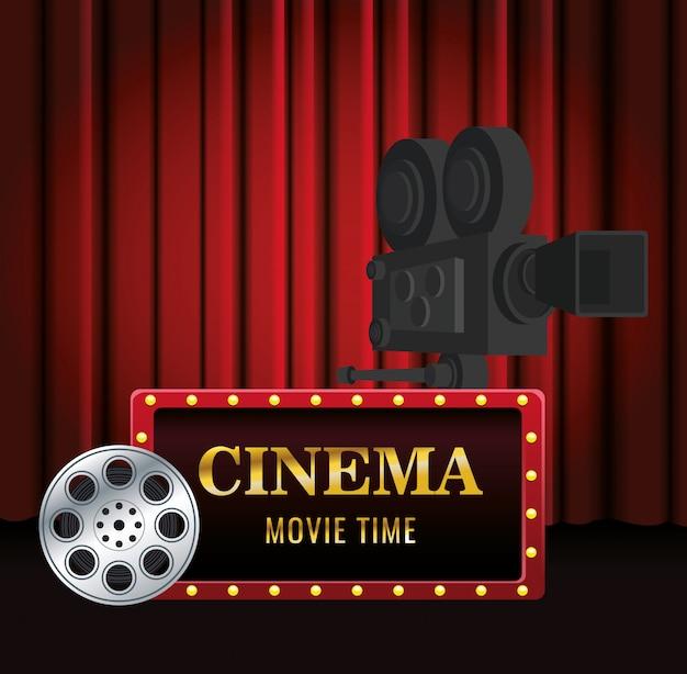 Cinema banner met filmrol en cinema camera