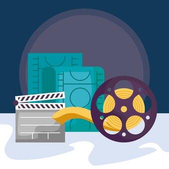 Cinema camera video met duig en tape reel