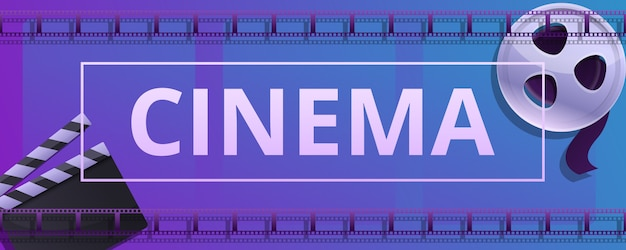 Cinema concept banner, cartoon stijl