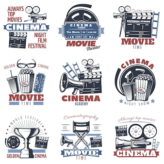 Cinema emblemen in kleur