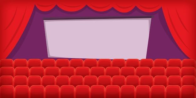 Cinema film horizontale achtergrond hal, cartoon stijl