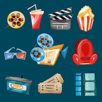 Cinema film iconen cartoon vector
