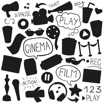 Cinema film silhouet vorm illustraties ontwerpen