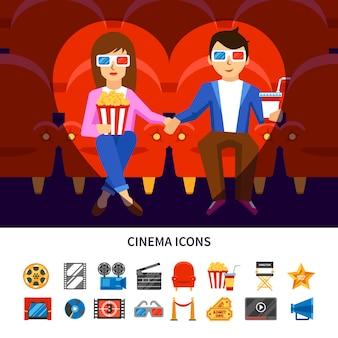 Cinema infographic set