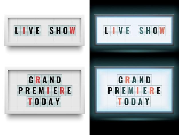 Cinema lightbox teken. verlichte billboardpanelen met lichtbak of lcd-scherm. geïsoleerde set