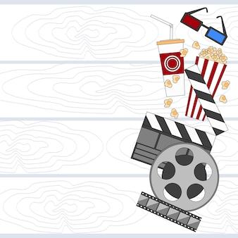 Cinema set film movie camera popcorn lege kopie ruimte