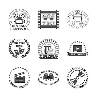 Cinema zwarte retro labels pictogrammen instellen
