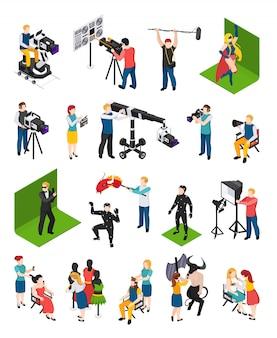 Cinematografie isometrische mensen videografen met camcorders acteurs regisseur illuminator dressoir en decorateur geïsoleerd