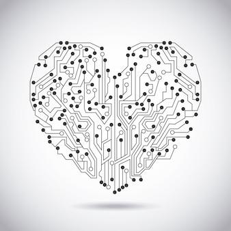 Circuit hart over vintage achtergrond vectorillustratie