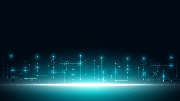 Circuit technische achtergrond met hi-tech digitaal gegevensverbindingssysteem en computer elektronisch