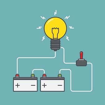 Circuit van batterij met stroomschakelaar vlakke afbeelding