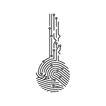 Circuit vingerafdruk sleutel. biometrische id voor software- of app-login. gebruikersverificatie van het beveiligingssysteem. vector illustratie