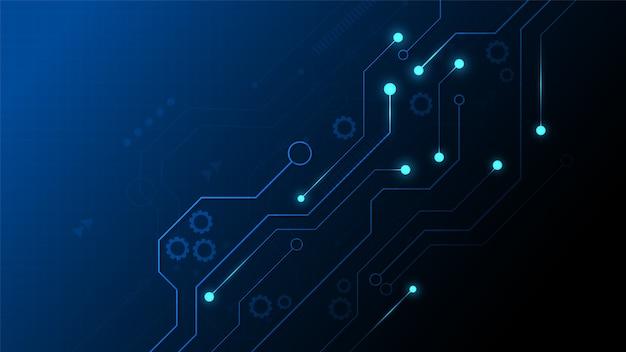 Circuittechnologieachtergrond met hi-tech digitaal gegevensverbindingssysteem en computer elektronisch design
