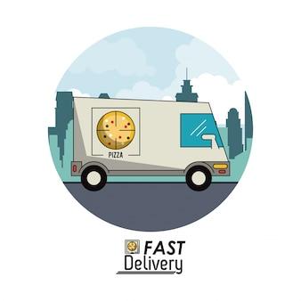 Circulair frame poster stadslandschap met snelle levering in pizza vrachtwagen