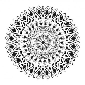 Circulaire bloemen mandala patroonontwerp in etnische stijl.