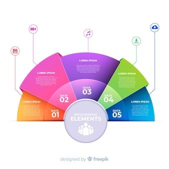Circulaire infographic sjabloon in verloopstijl