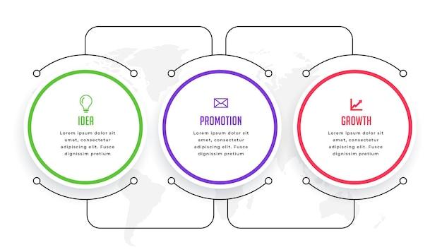 Circulaire infographic sjabloon met lijnverbinding