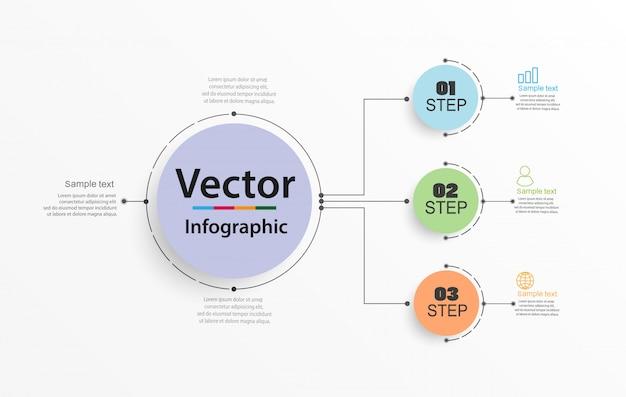 Circulaire infographics aantal optiesjabloon met 3 stappen