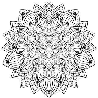 Circulaire mandala voor henna, mehndi, tatoeage, decoratie. decoratief ornament in etnische oosterse stijl. kleurboekpagina.