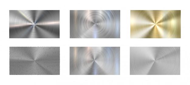 Circulaire metalen structuur. radiaal geborsteld metalen, grijs staal en metallic chroom texturen realistische vector achtergrond set