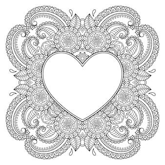 Circulaire patroon in de vorm van een mandala met frame in de vorm van een hart. decoratief ornament in etnische oosterse mehndi-stijl. overzicht doodle hand loting vectorillustratie. anti-stressprogramma kleurboekpagina.