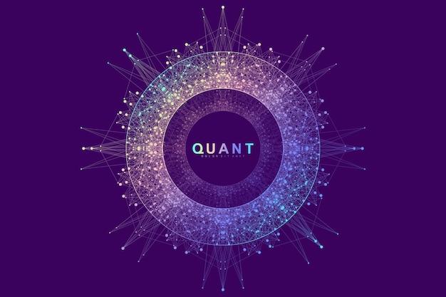 Circulaire quantum computer technologie concept. bol explosie achtergrond. deep learning kunstmatige intelligentie. visualisatie van big data-algoritmen. golven stromen. kwantumexplosie, vectorillustratie.