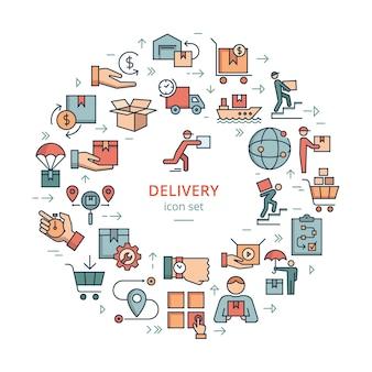 Circulaire sjabloon levering logistieke pictogrammenset in vlakke stijl. bagagekarretje, route, contant geld, 24 uur, zeevaart, vrachtcontainer, autolevering, magazijn.