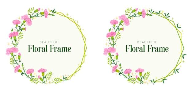 Circulaire vector frame met sparkles en roze anjers